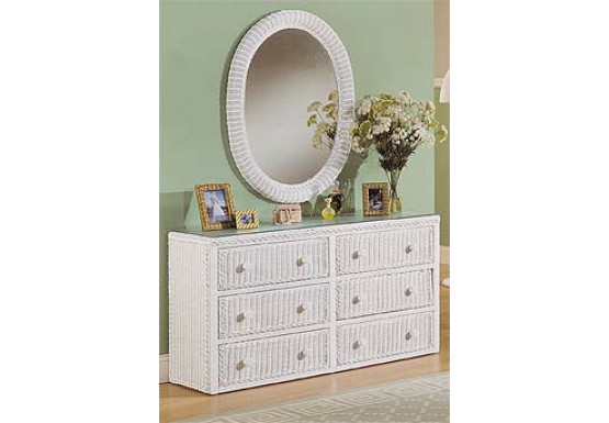 Traditional 6 Drawer Wicker Bedroom Dresser - Traditional 6 Drawer Wicker Bedroom Dresser