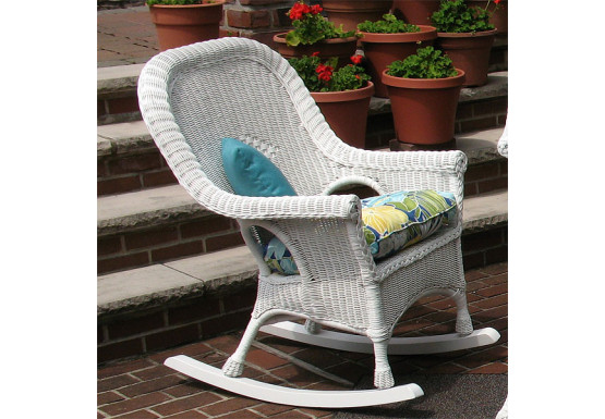 Natural Wicker Rocking Chairs High Back Diamond Style White