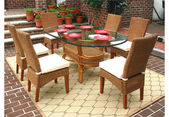 7 Piece Signature Oval Wicker Dining Set, White or Brown - TEAWASH