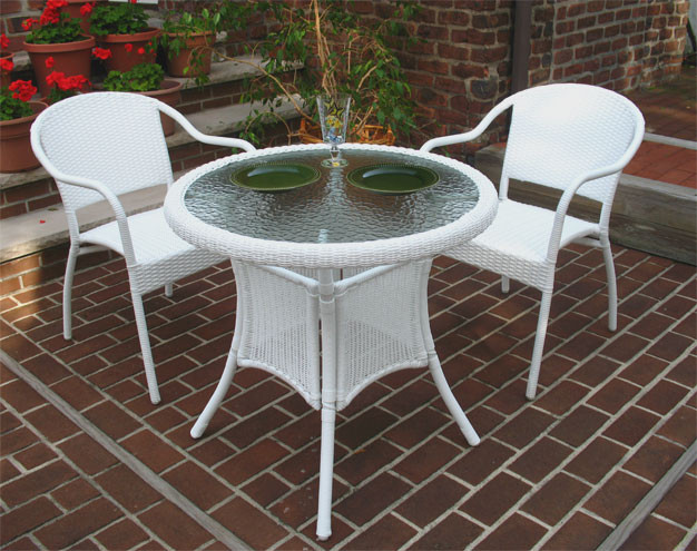 ... 30 Round Resin Wicker Bistro Set With 2 Chairs In 5 Colors   WHITE ...