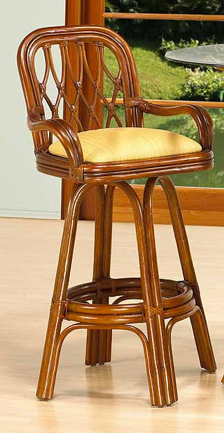 ... Coconut Beach Swivel Rattan Bar Stools   MAHOGANY