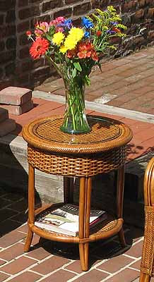 Etonnant ... Tangiers Round Wicker End Table With Glass Top   TEAWASH