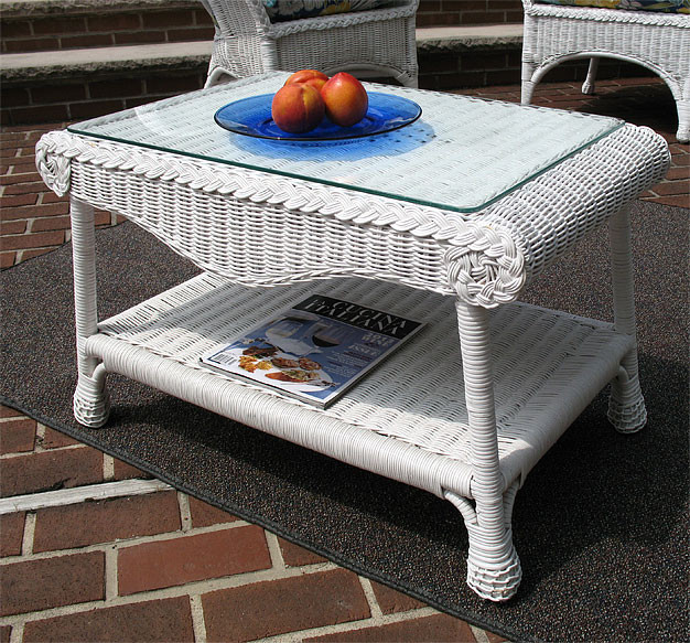 ... Diamond Wicker Coffee Table With Glass Top   WHITE ...