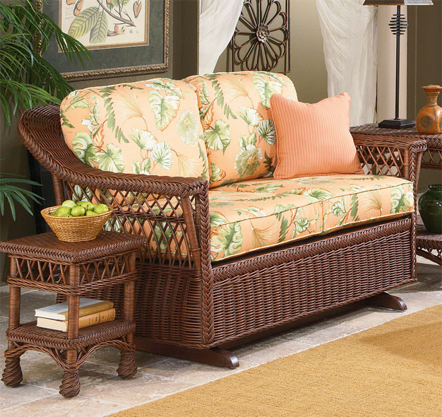 Sea Harbor Natural Wicker Glider Loveseat