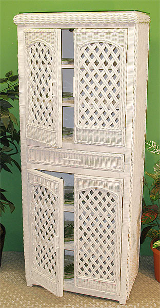 High Boy Lattice Wicker Cabinet