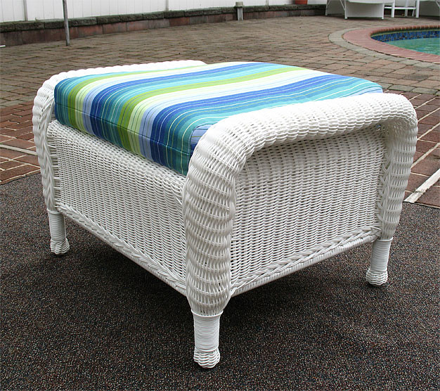 Laguna Beach Resin Wicker Ottoman