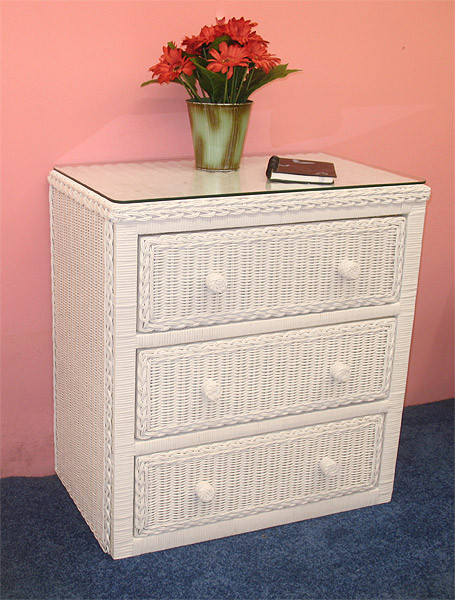 Traditional 3 Draw Wicker Bedroom Dresser Chest