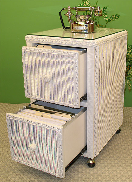 2-Drawer Wicker File Cabinet