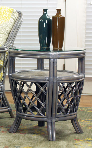 ... Bordeaux Rattan Round End Table With Glass Top   WILLOW ...