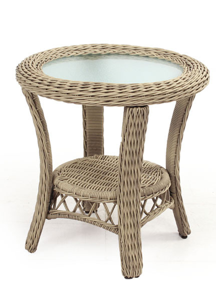 Ordinaire ... Baketweave Round Resin Wicker End Table   DRIFTWOOD ...
