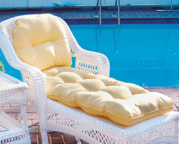 Sunbrella Fabric Wicker Chaise Lounge Cushion