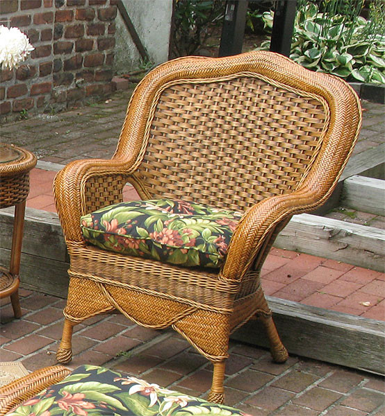 Natural RattanTangiers Wicker Chair With Cushion