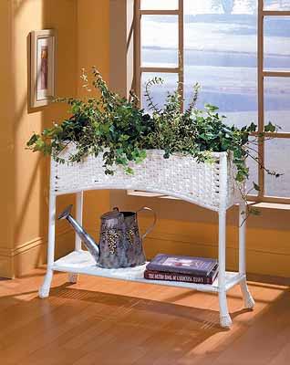 Resin Wicker Window Box Planter With Tin
