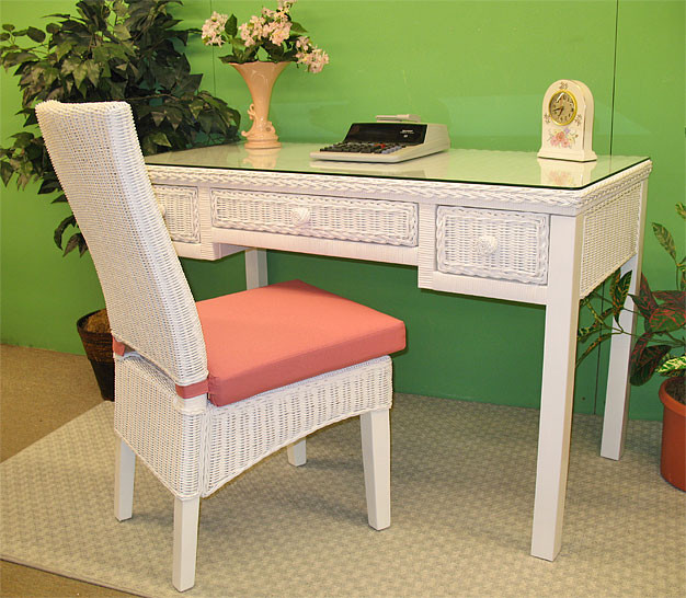 ... Signature Writing Table With Glass Top   WHITE ...