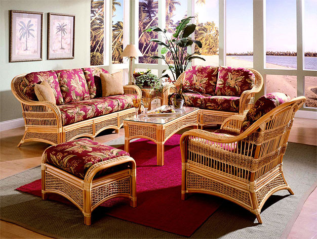 5 Piece Fiji Indoor Rattan Furniture Set Natural Color