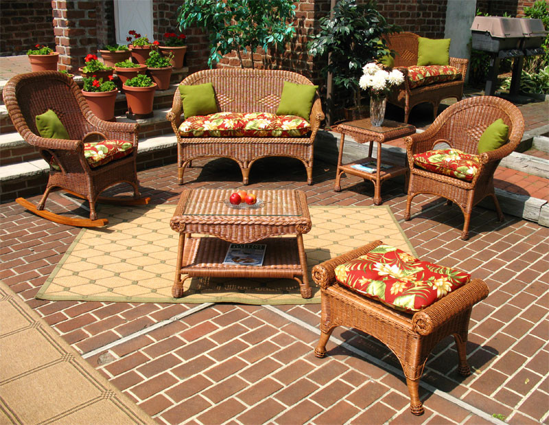 4 Piece Natural Wicker Set  Diamond (2) Chairs - TEAWASH