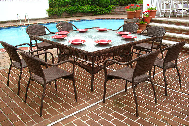 66 SquareDining Set with 8 Bistro Chairs : b669dsnc ab from www.wickerwarehouse.com size 800 x 537 jpeg 207kB