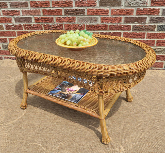 ... Belaire Resin Wicker Oval Cocktail Or Coffee Table With Glass Top    GOLDEN HONEY ...