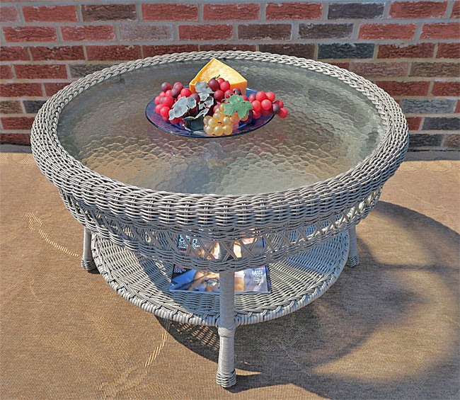 Round Wicker Coffee Table With Stools: Belaire Round Resin Wicker Cocktail Or Coffee Table With