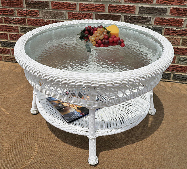 Resin Wicker Tail Table White