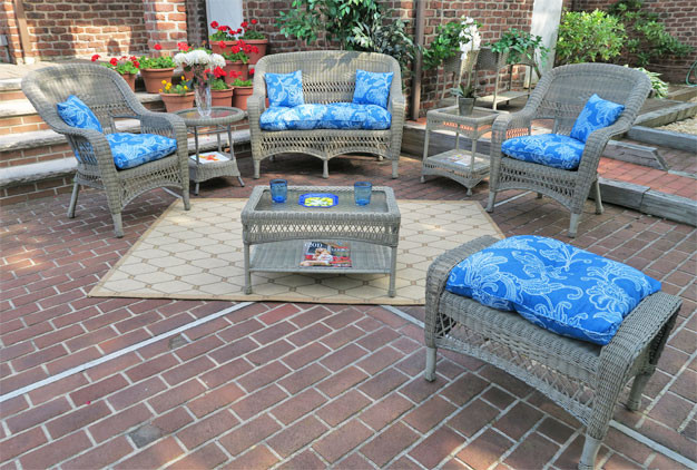 ... 4 Pc Belair Resin Wicker Furniture Set With Cushions   DRIFTWOOD ...