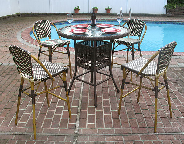 Resin Wicker High Dining Set With Cafe Style Bar Stools