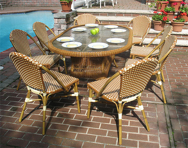 ... 72 (9) Piece Oval Cafe Dining Set With Umbrella Hole   GOLDEN HONEY AND  ...