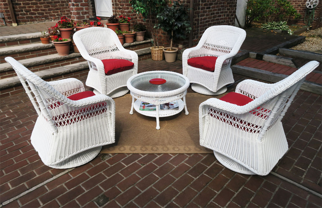 Resin Wicker Swivel Glider Chair Conversation Set 19.5