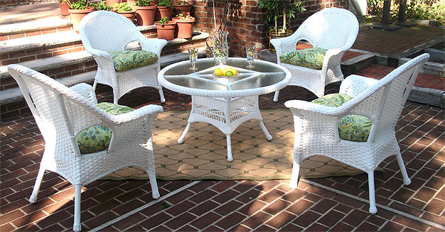 "High Back Veranda Resin Wicker Conversation Sets with 24"" High Table - WHITE"