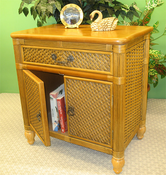 Outdoor Wicker Cabinet: Del Ray Rattan Commode Cabinet