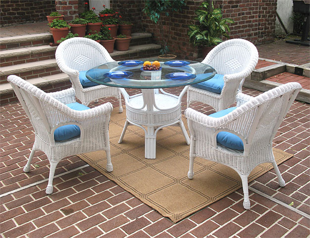 "5 Pc Diamond Wicker Dining Set 48"" Round - WHITE"