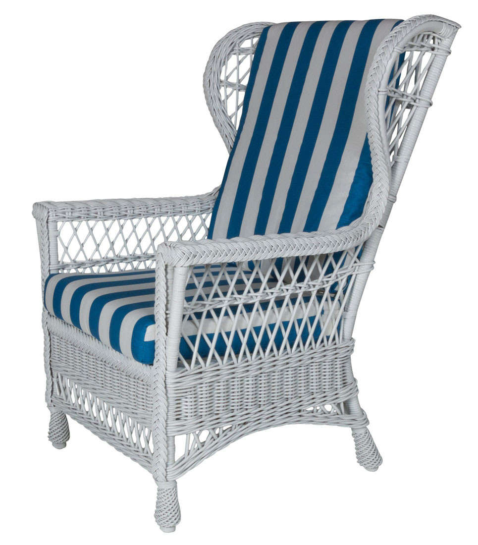 ... Harbor Front Wicker Wing Chair   WHITE