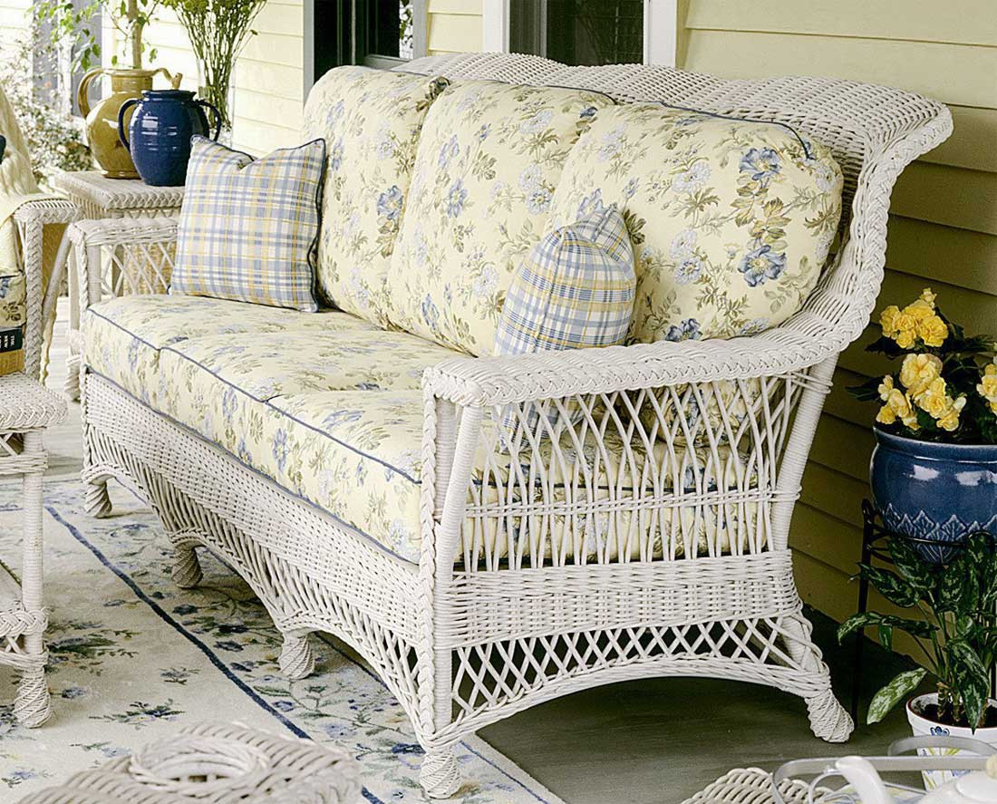 Genial ... Rockport Natural Wicker Sofa High Back   WHITE