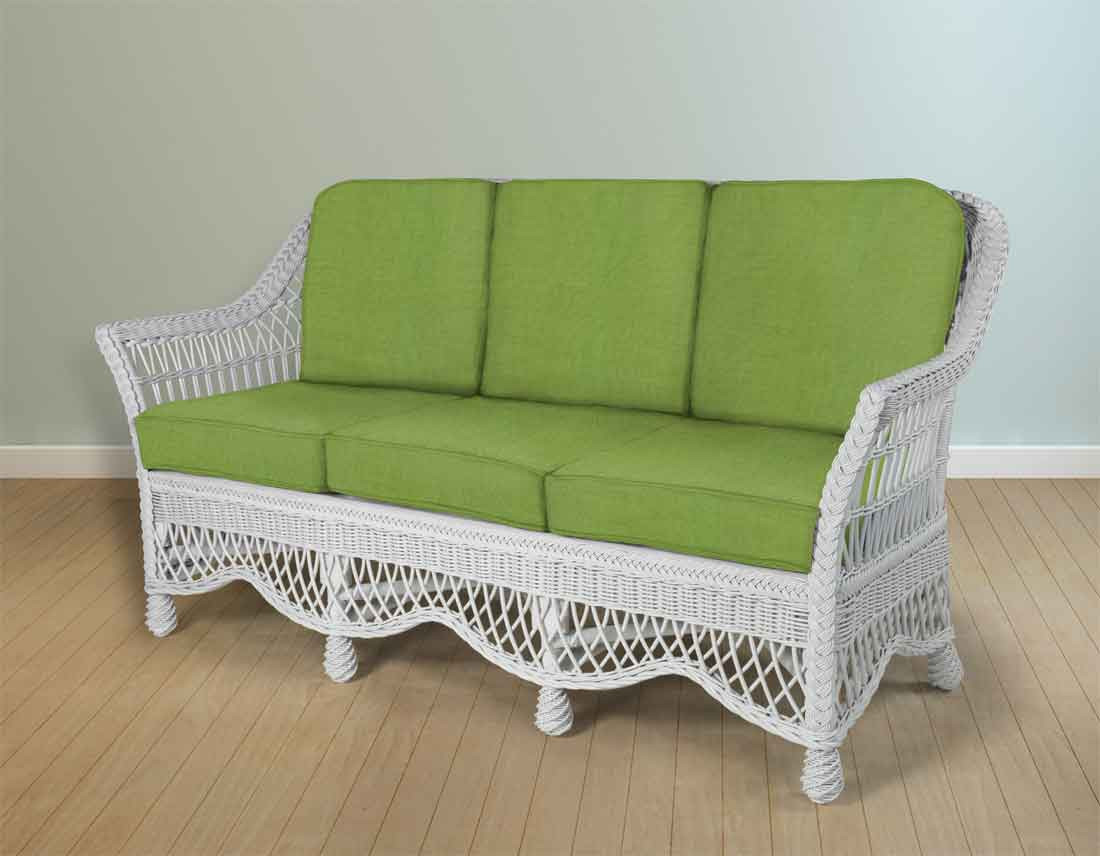 Ordinaire ... Capri Rattan Framed Natural Wicker Sofa   WHITE