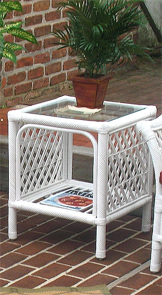 Havana Rattan End Table With Glass Top