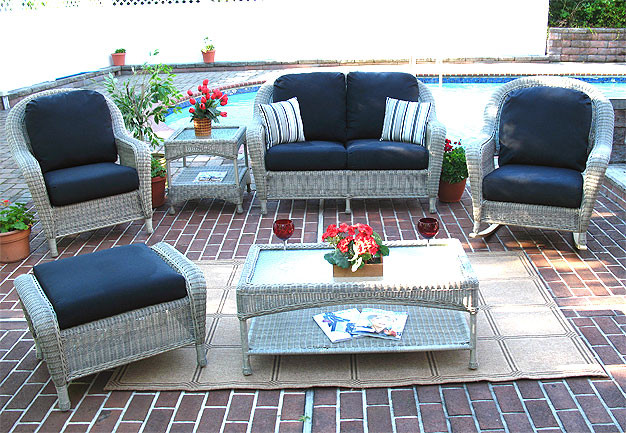 ... 4 Piece Laguna Beach Resin Wicker Patio Furniture With Love Seat, ...