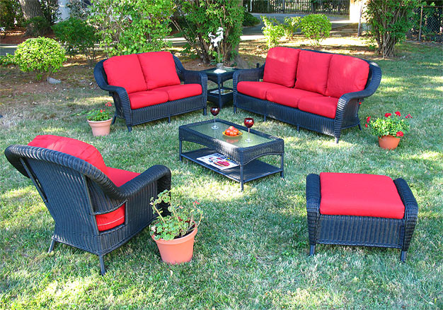 6 Pc Laguna Beach Resin Wicker Patio Furniture with Sofa & Love Seat - BLACK