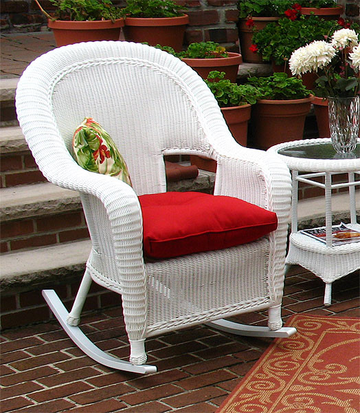 Malibu Resin Wicker Rocking Chairs   WHITE Resin Wicker Rocker White ...