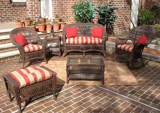 6 Piece Madrid Set With Cushions 1 Chair Rocker Rustic Brown