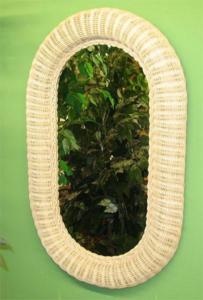 Medium Extra Large Oval Wicker Mirror 34 High
