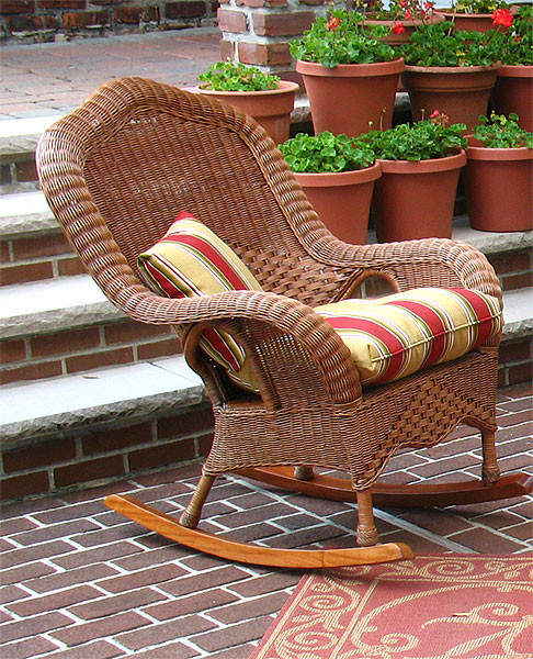 Naples Natural Wicker Rocking Chair High Back