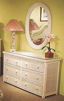 Pavilion 6 Drawer Wicker Dresser Whitewash