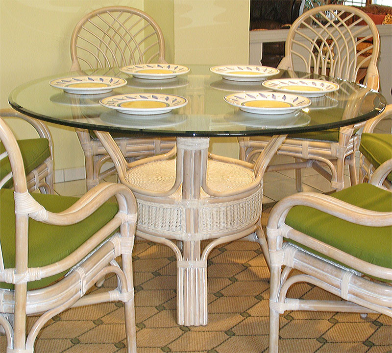 ... Pole Rattan 54 Round Dining Table With Glass Top   WHITEWASH ...