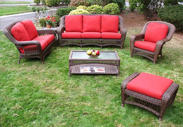 4 Piece Palm Springs Resin Wicker Furniture Set, Sofa, 2