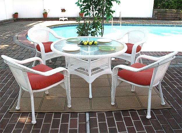 Beau ... White Resin Wicker Dining Set ...