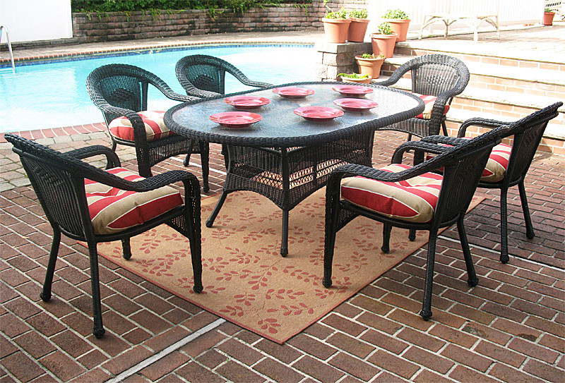 ... Resin Wicker Dining Set Black ... - Resin Wicker Dining Set 7