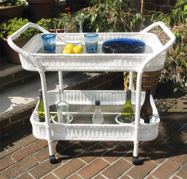 Resin Wicker Serving Cart With Inset Gl Shelves