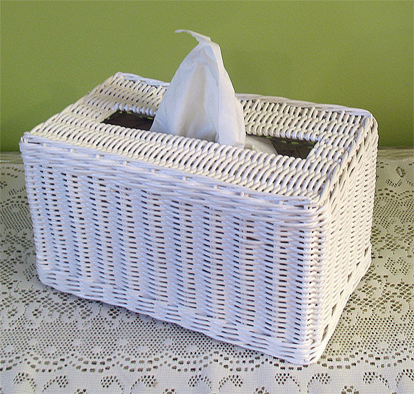 Rectangular wicker tissue box cover - White wicker bathroom accessories ...
