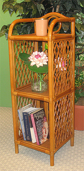 Pole Rattan Slim Amp Tall 3 Tier Wicker Floor Shelf