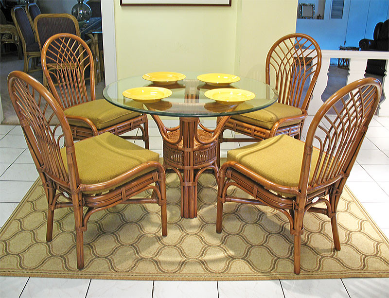 Savannah 5-Piece 42 Rattan Dining Set with Glass Top - TEAWASH